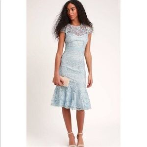 Lulus light blue embroidered midi dress